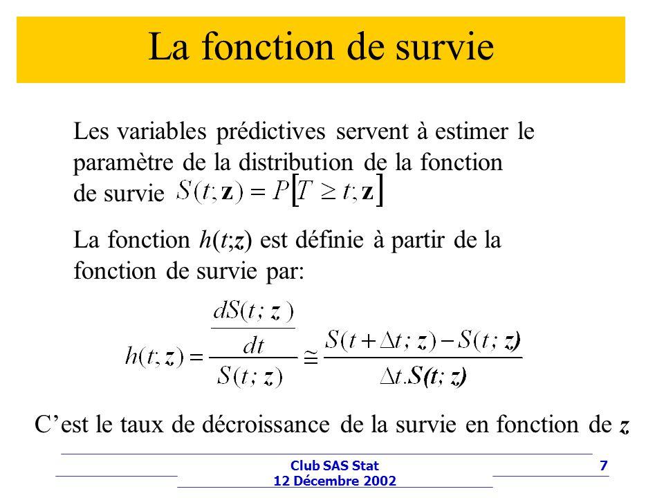 La fonction de survie Les variables prédictives servent à estimer le paramètre de la distribution de la fonction de survie.
