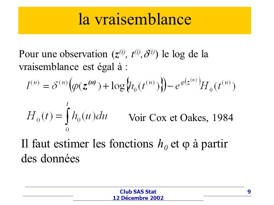 la vraisemblance Pour une observation (z(i), t(i),(i)) le log de la vraisemblance est égal à : Voir Cox et Oakes, 1984.