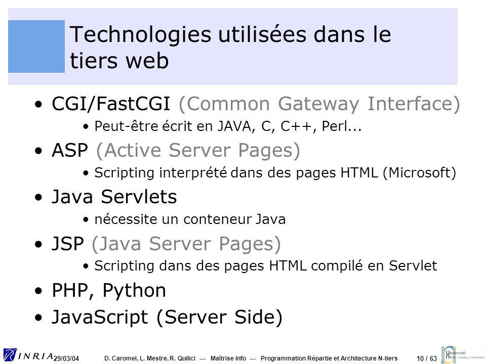 Technologies utilisées dans le tiers web