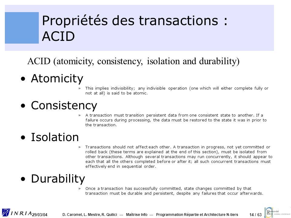 Propriétés des transactions : ACID