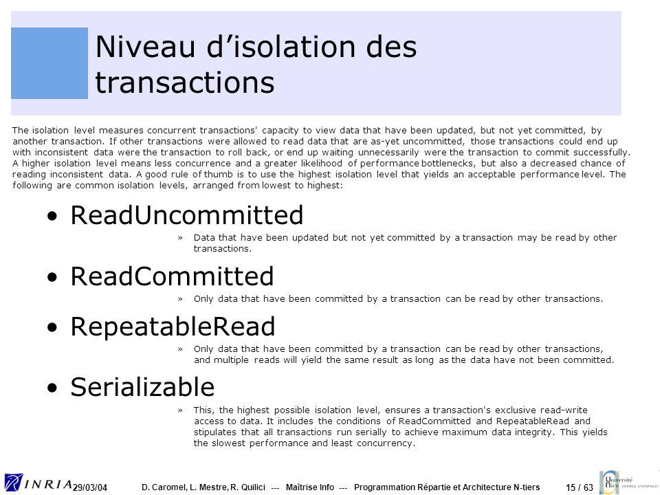 Niveau d'isolation des transactions