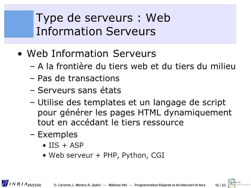 Type de serveurs : Web Information Serveurs