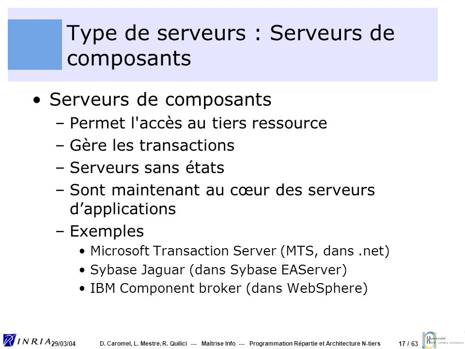 Type de serveurs : Serveurs de composants