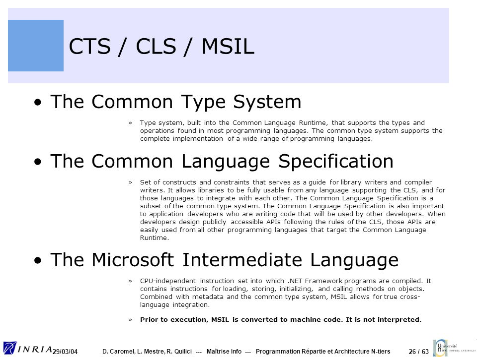 CTS / CLS / MSIL The Common Type System