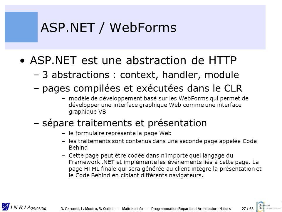 ASP.NET / WebForms ASP.NET est une abstraction de HTTP