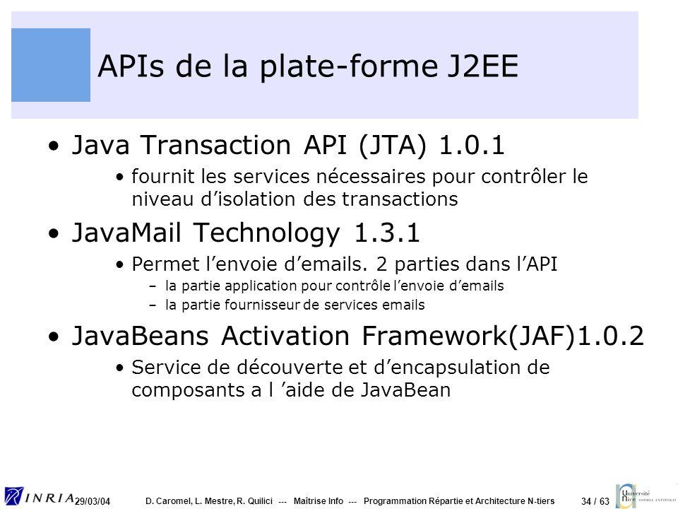 APIs de la plate-forme J2EE