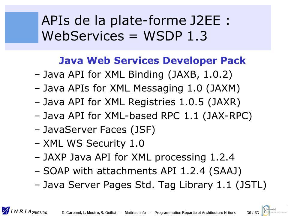APIs de la plate-forme J2EE : WebServices = WSDP 1.3