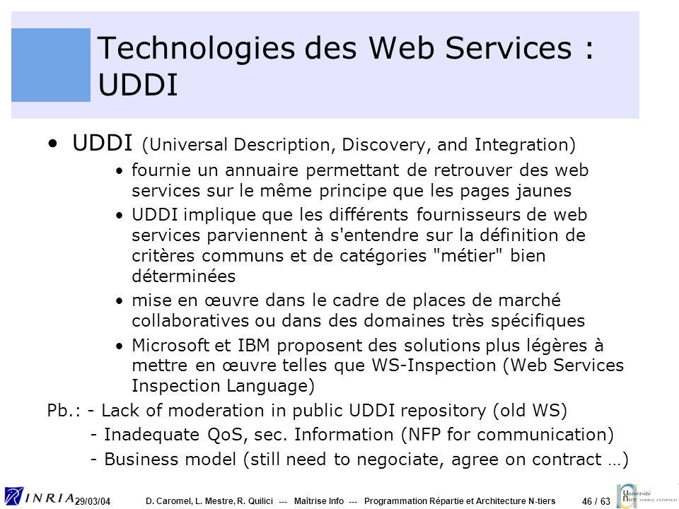 Technologies des Web Services : UDDI