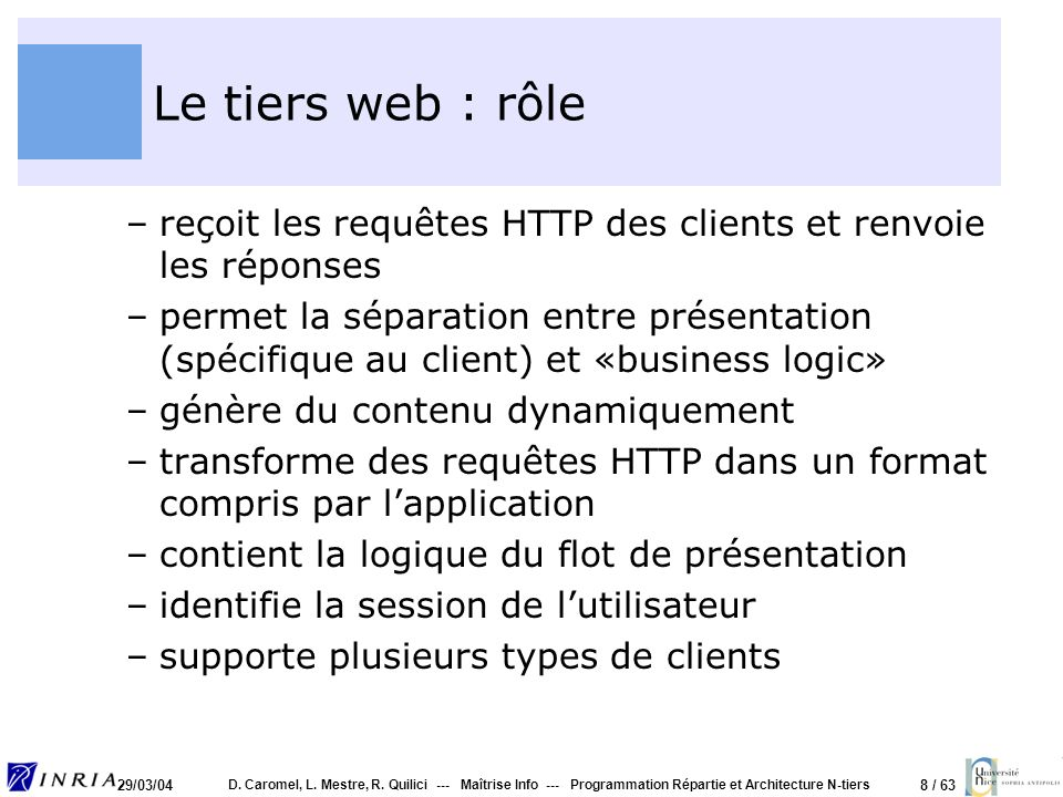 Le tiers web : rôle reçoit les requêtes HTTP des clients et renvoie les réponses.