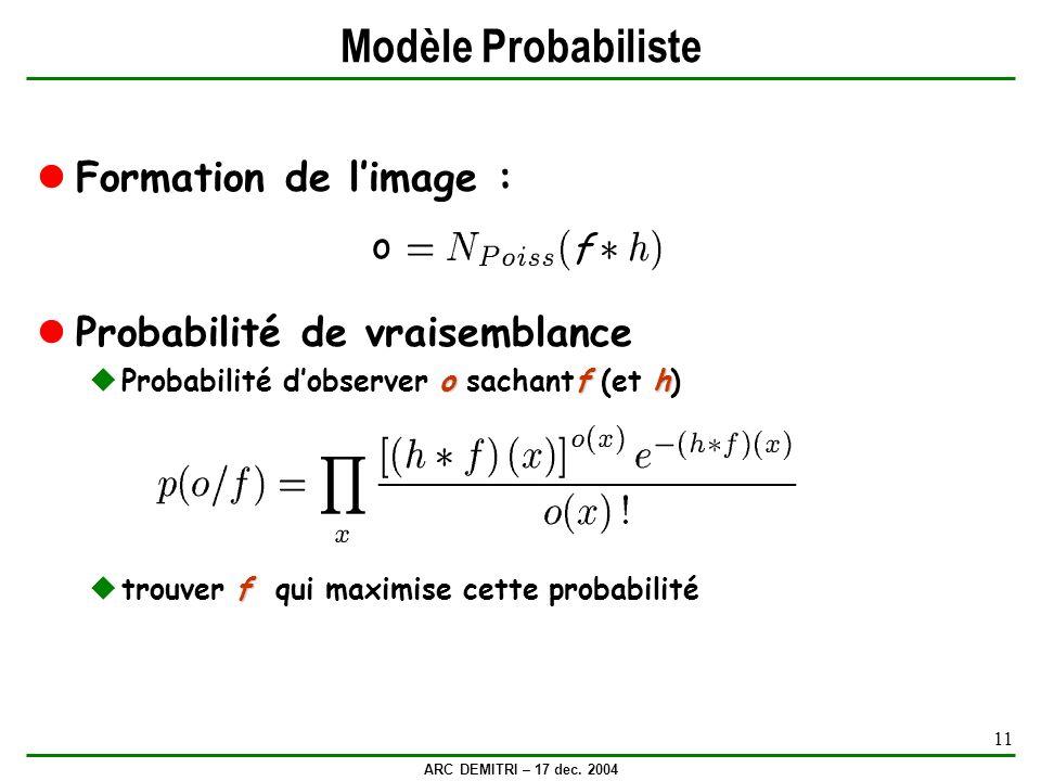 Modèle Probabiliste Formation de l'image :