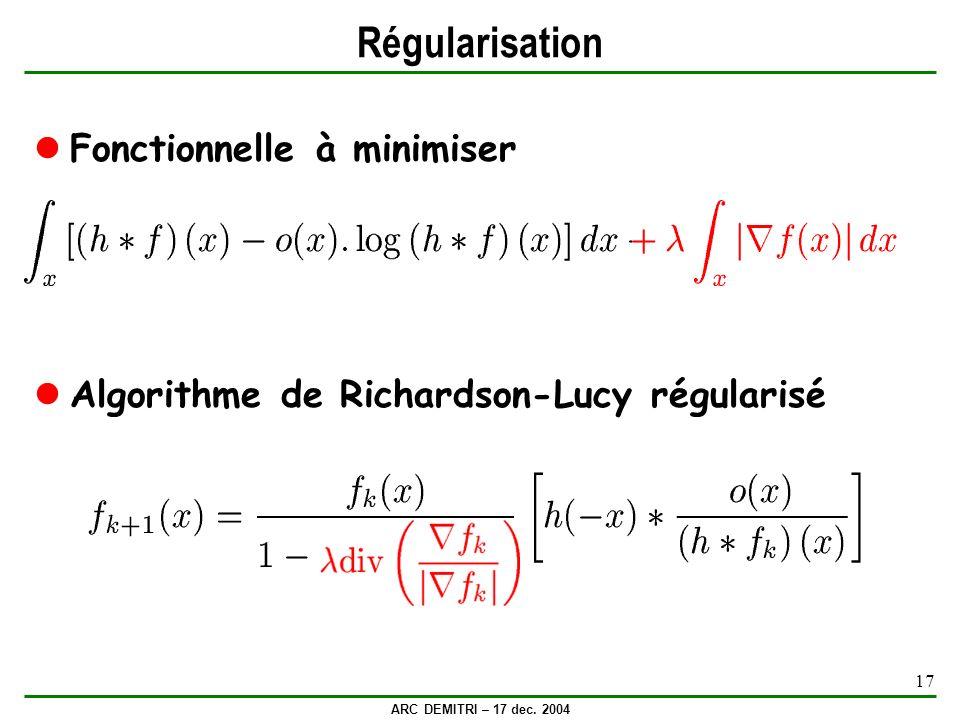 Régularisation Fonctionnelle à minimiser