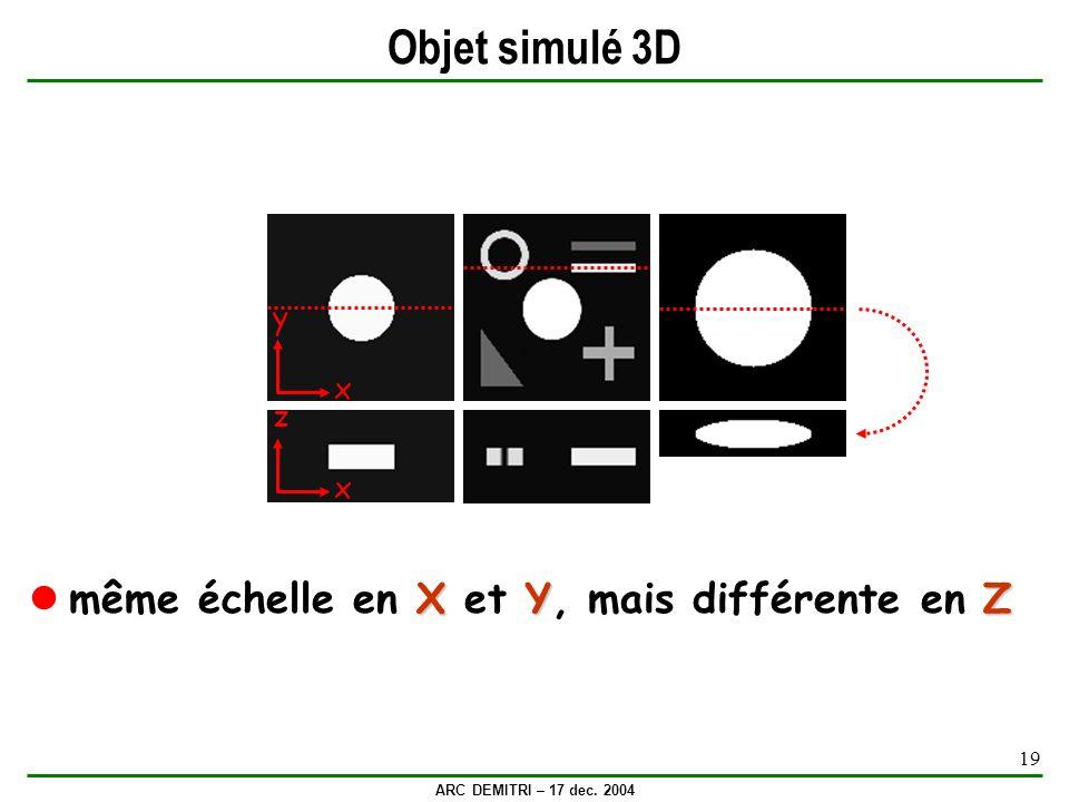 Objet simulé 3D même échelle en X et Y, mais différente en Z y x z x