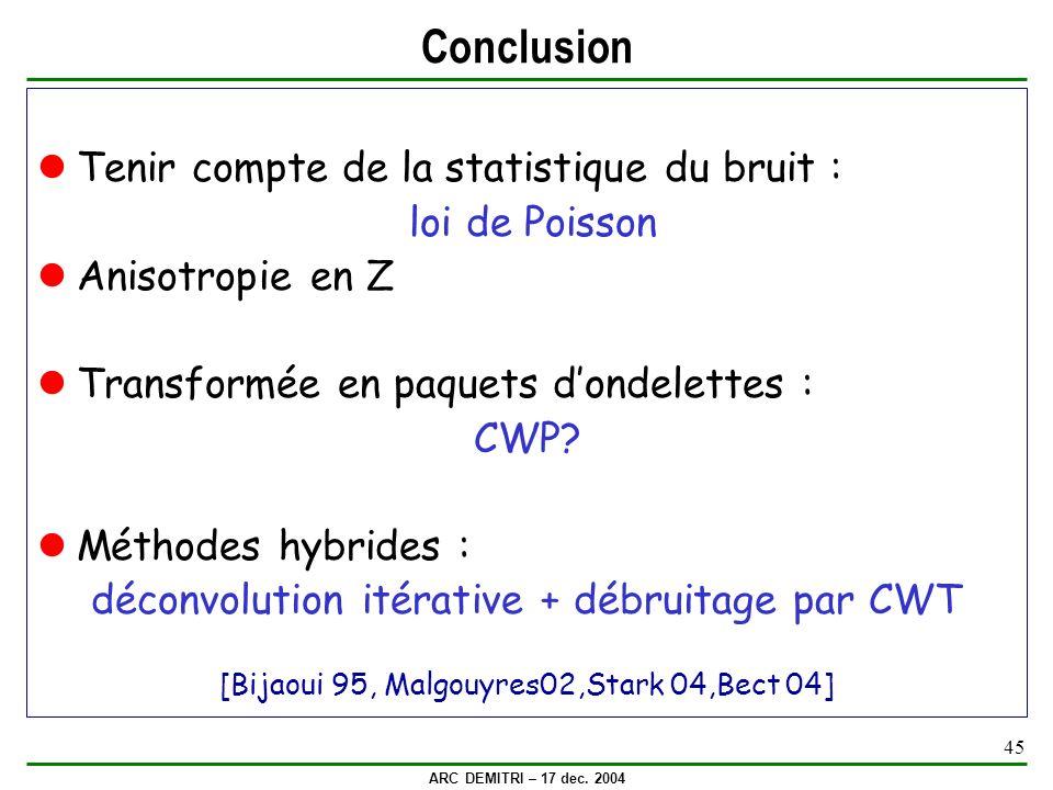 Conclusion Tenir compte de la statistique du bruit : loi de Poisson