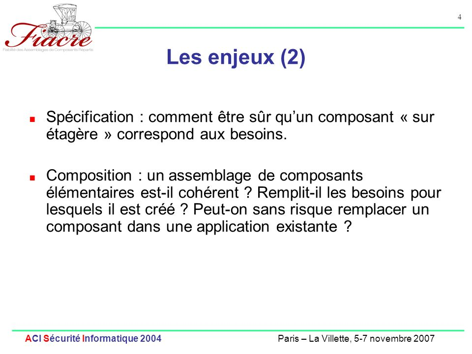 Les enjeux (2) Spécification : comment être sûr qu'un composant « sur étagère » correspond aux besoins.