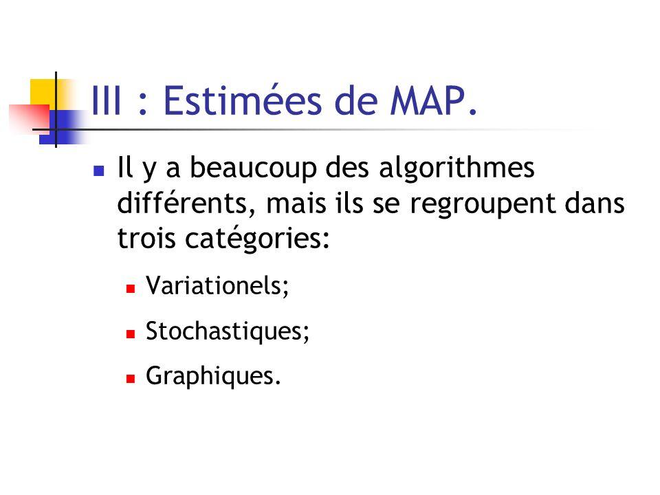 III : Estimées de MAP. Il y a beaucoup des algorithmes différents, mais ils se regroupent dans trois catégories: