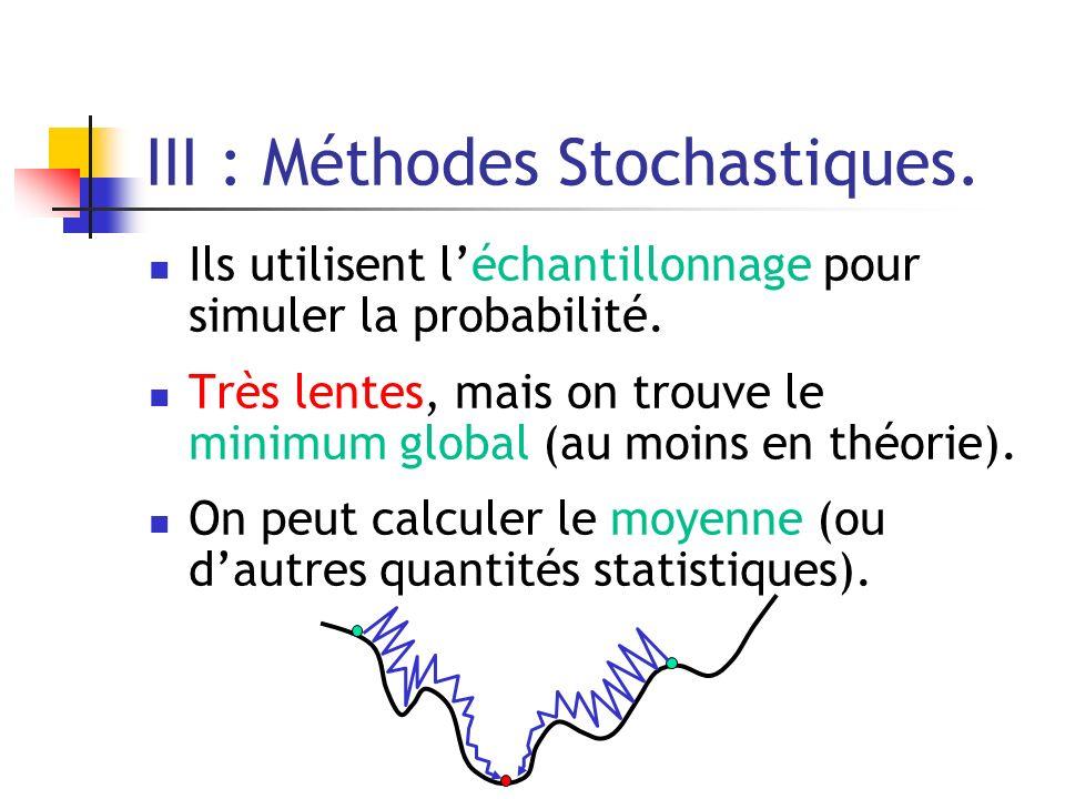 III : Méthodes Stochastiques.