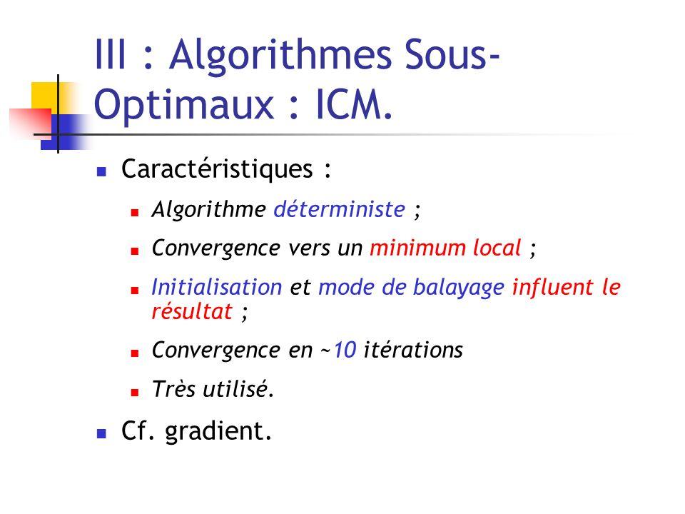 III : Algorithmes Sous- Optimaux : ICM.