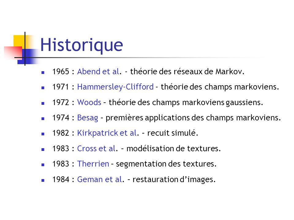Historique 1965 : Abend et al. - théorie des réseaux de Markov.