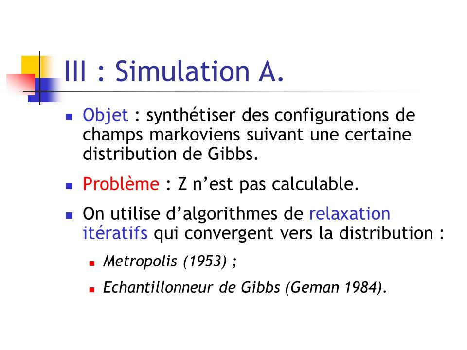 III : Simulation A. Objet : synthétiser des configurations de champs markoviens suivant une certaine distribution de Gibbs.