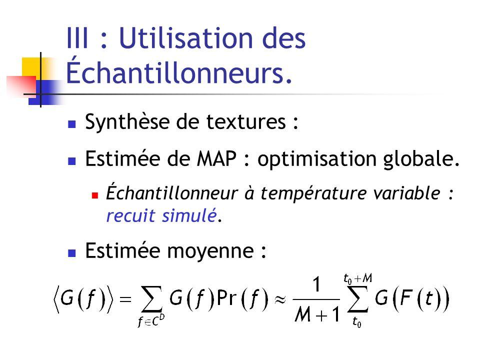 III : Utilisation des Échantillonneurs.