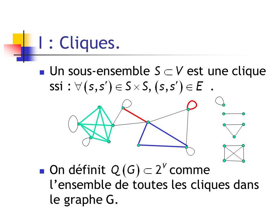 I : Cliques. Un sous-ensemble est une clique ssi : .