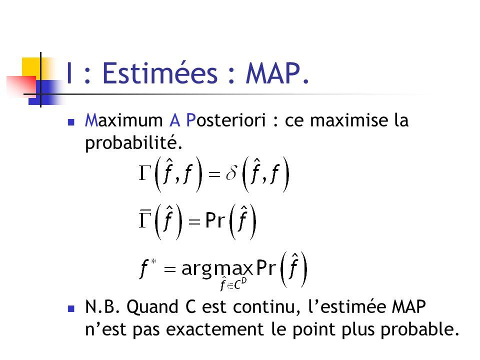 I : Estimées : MAP. Maximum A Posteriori : ce maximise la probabilité.