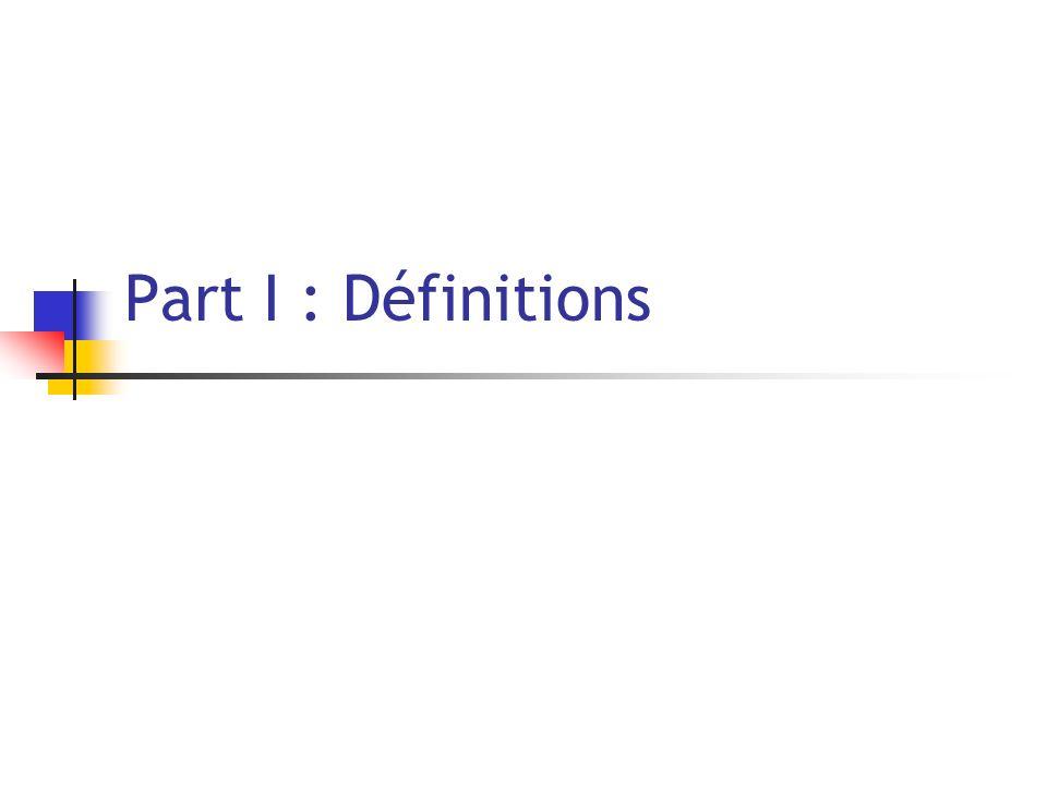 Part I : Définitions