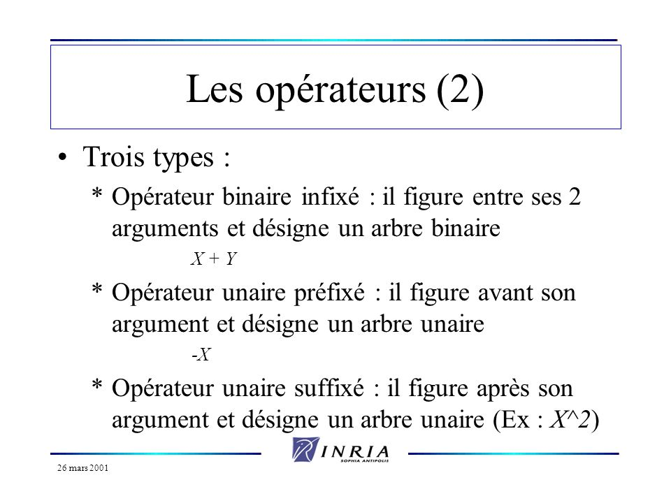 Les opérateurs (2) Trois types :