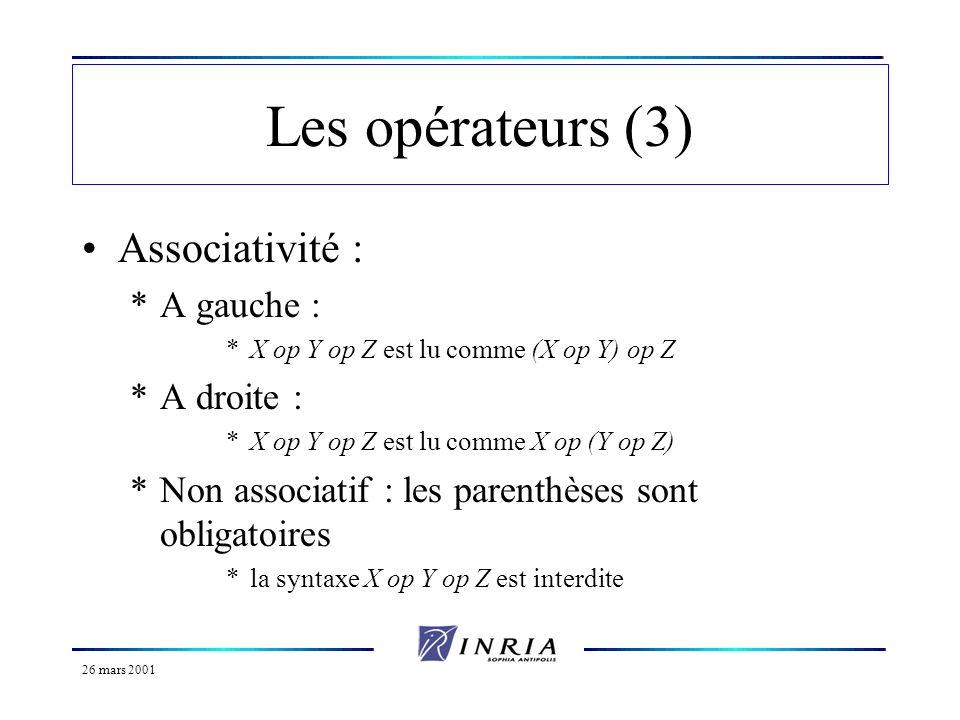 Les opérateurs (3) Associativité : A gauche : A droite :