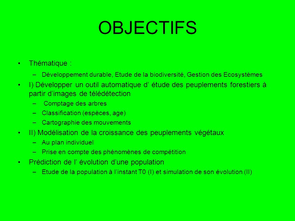 OBJECTIFS Thématique :