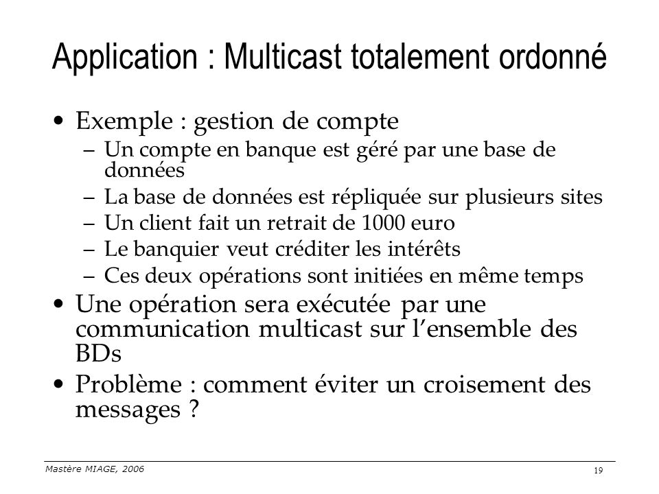 Application : Multicast totalement ordonné