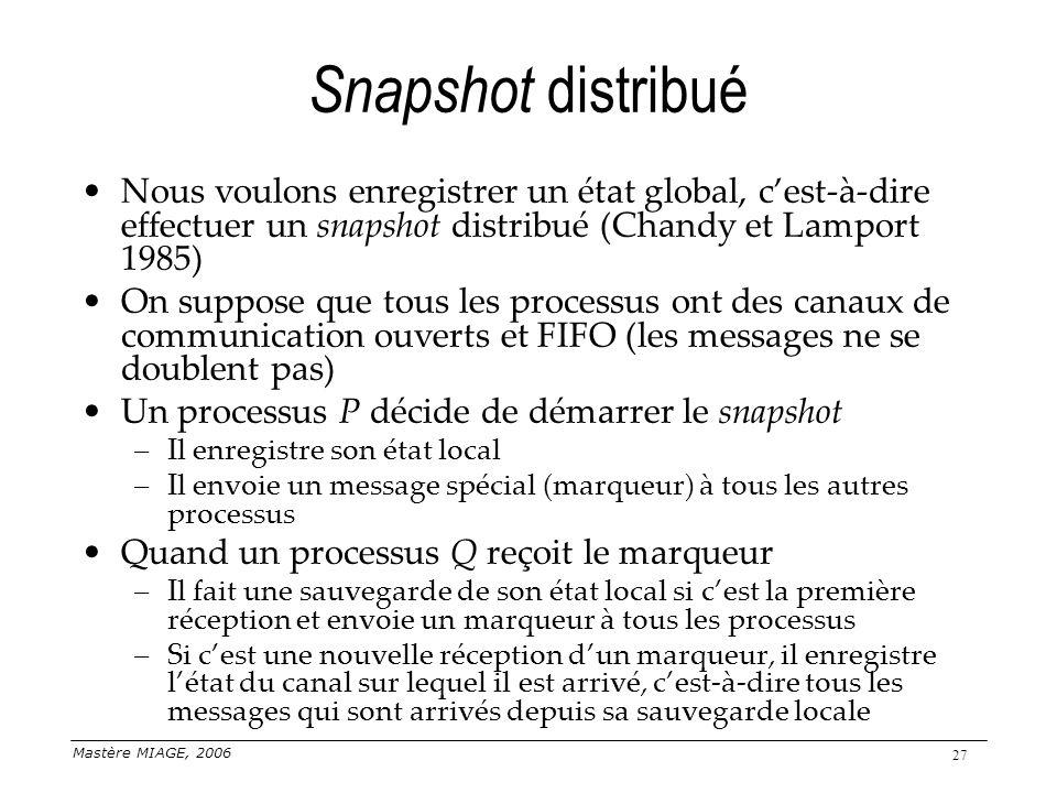 Snapshot distribué Nous voulons enregistrer un état global, c'est-à-dire effectuer un snapshot distribué (Chandy et Lamport 1985)