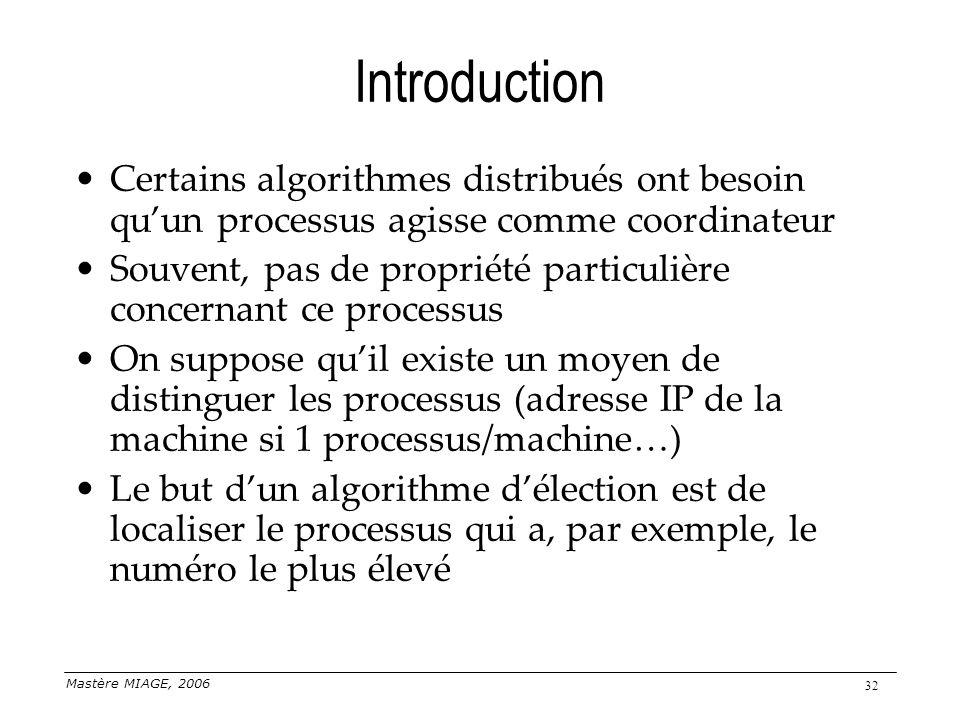 Introduction Certains algorithmes distribués ont besoin qu'un processus agisse comme coordinateur.