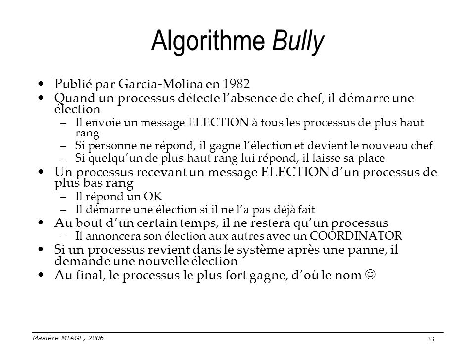 Algorithme Bully Publié par Garcia-Molina en 1982