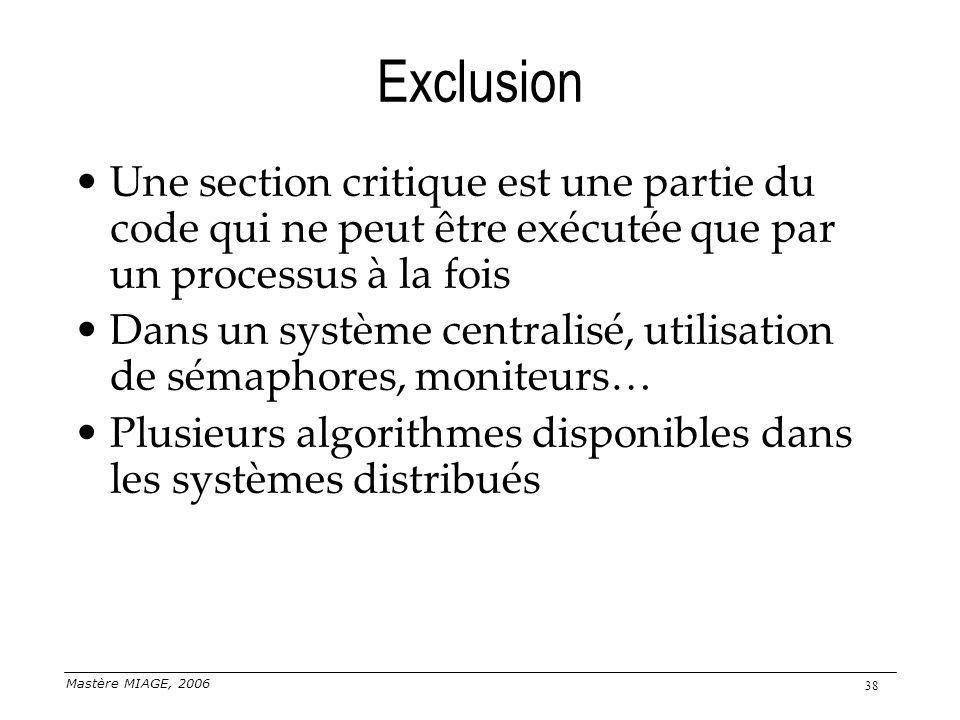 Exclusion Une section critique est une partie du code qui ne peut être exécutée que par un processus à la fois.