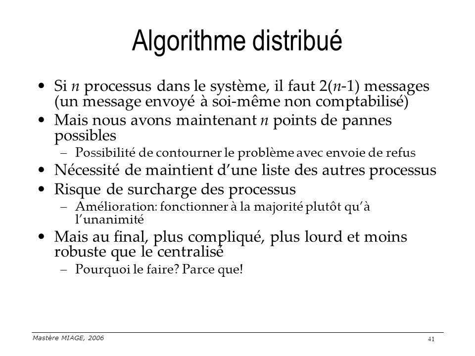 Algorithme distribué Si n processus dans le système, il faut 2(n-1) messages (un message envoyé à soi-même non comptabilisé)