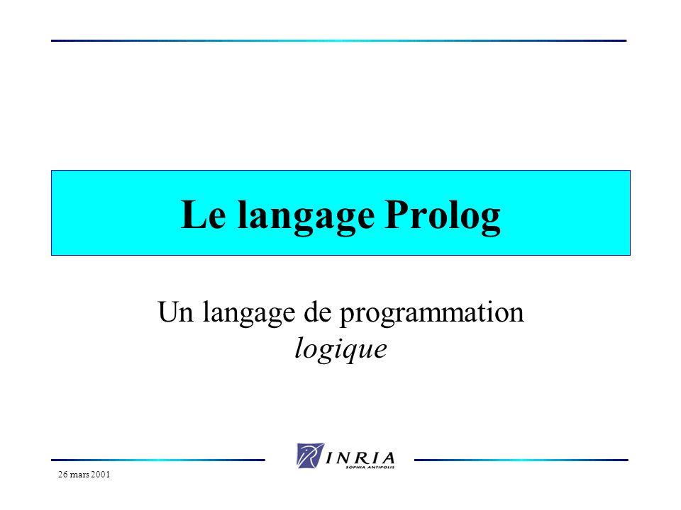 Un langage de programmation logique