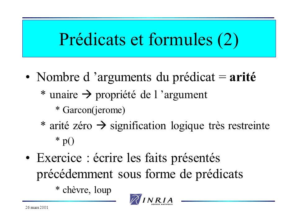 Prédicats et formules (2)