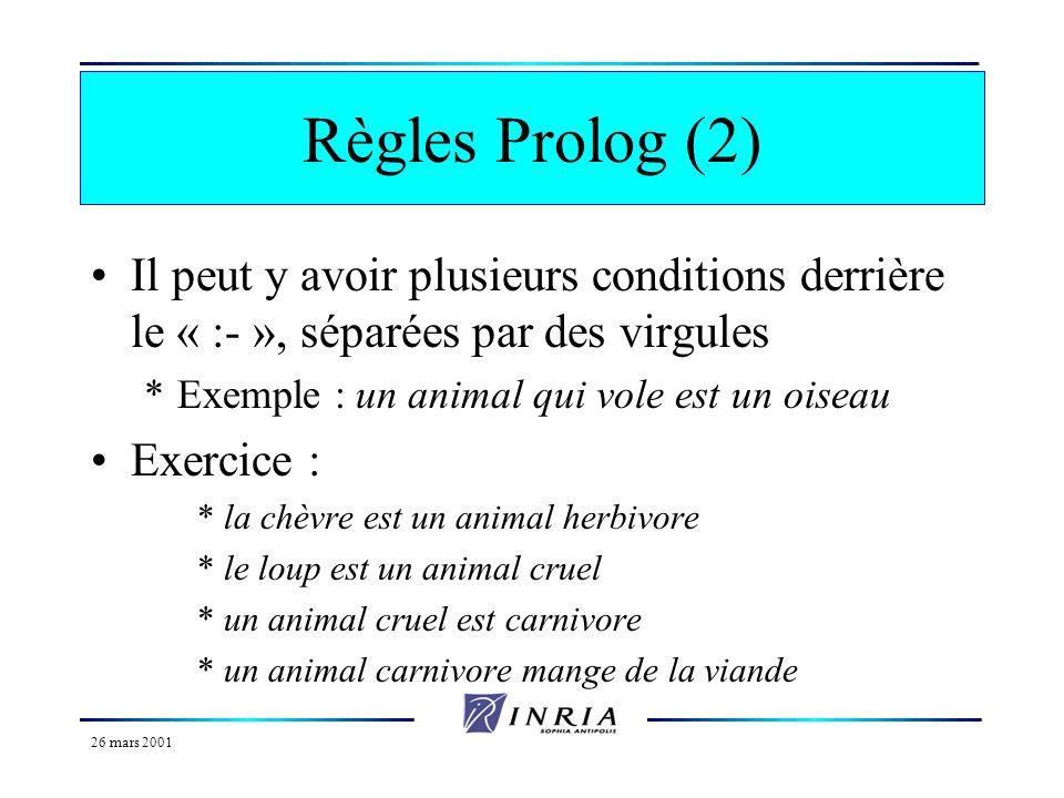 Règles Prolog (2) Il peut y avoir plusieurs conditions derrière le « :- », séparées par des virgules.