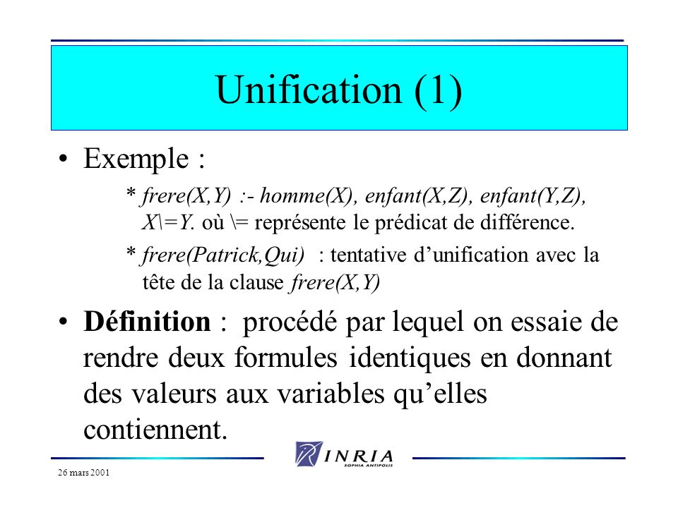 Unification (1) Exemple :