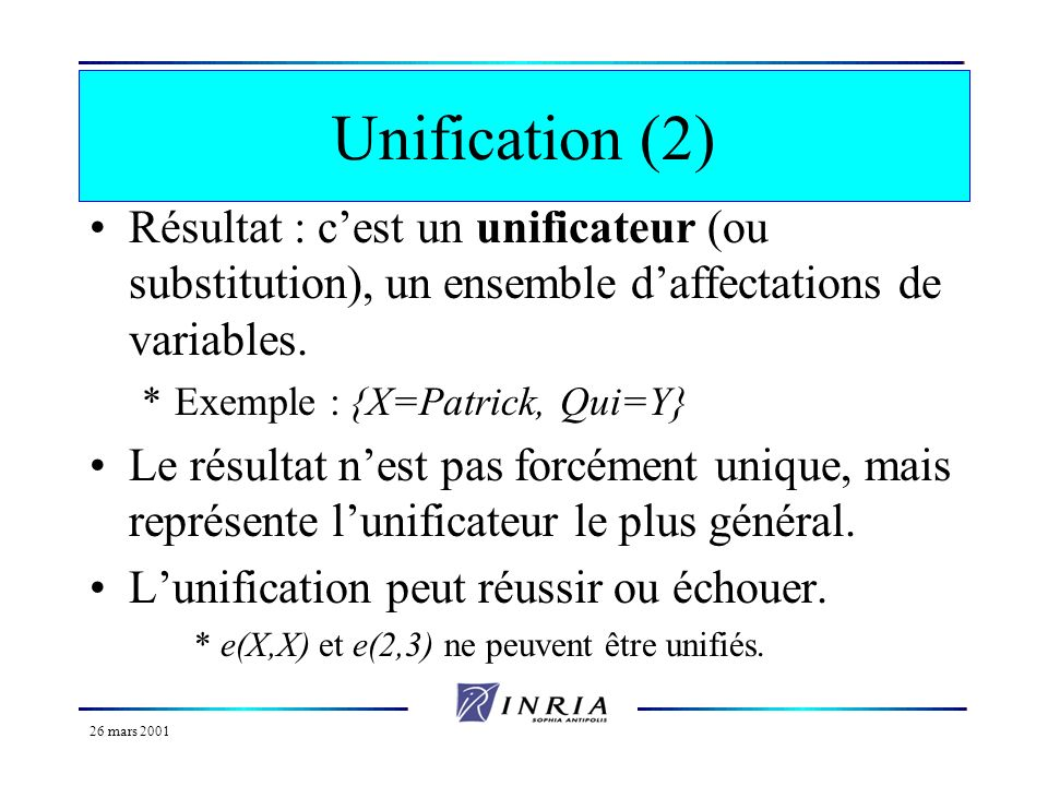 Unification (2) Résultat : c'est un unificateur (ou substitution), un ensemble d'affectations de variables.