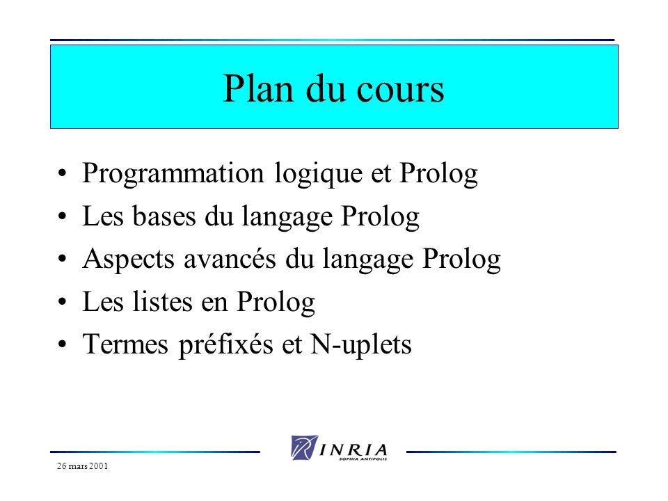 Plan du cours Programmation logique et Prolog