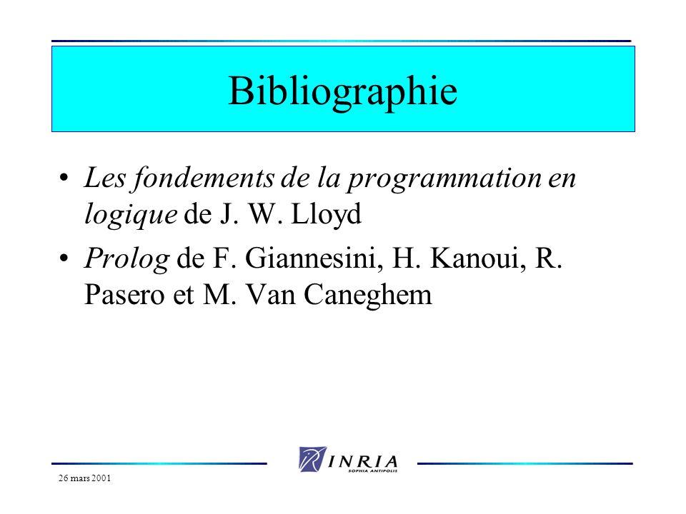 Bibliographie Les fondements de la programmation en logique de J. W. Lloyd. Prolog de F. Giannesini, H. Kanoui, R. Pasero et M. Van Caneghem.