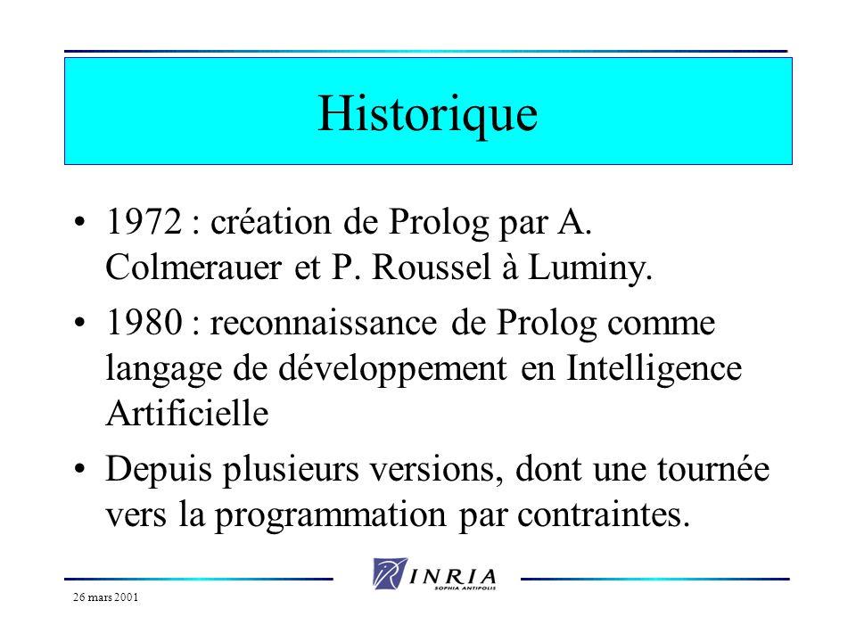 Historique 1972 : création de Prolog par A. Colmerauer et P. Roussel à Luminy.