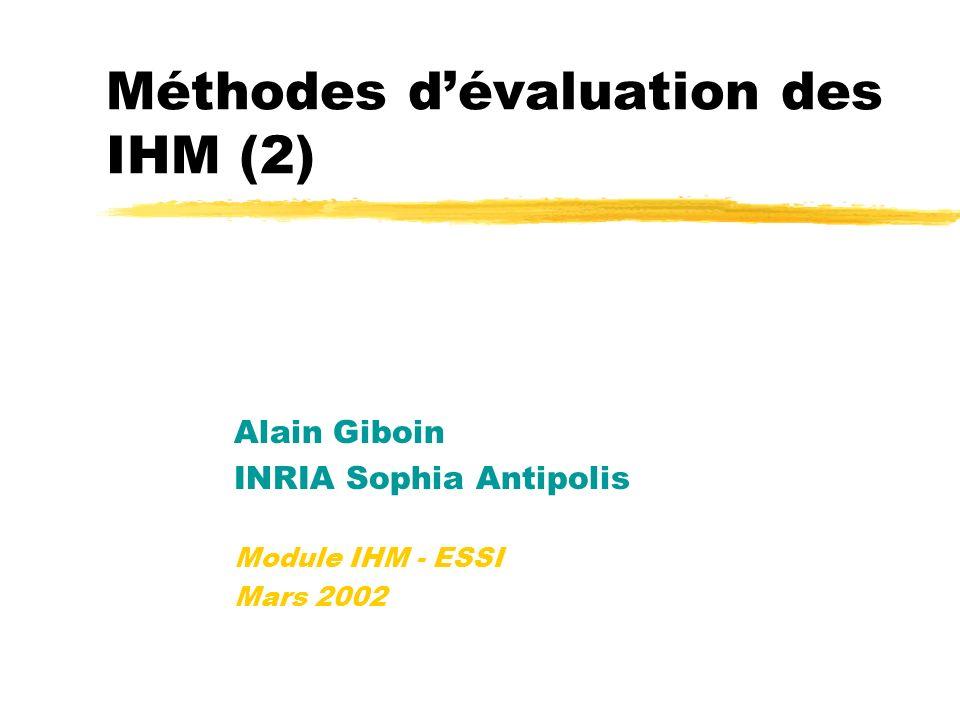 Méthodes d'évaluation des IHM (2)