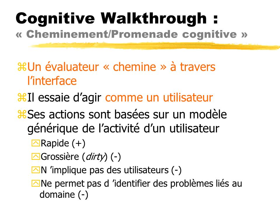 Cognitive Walkthrough : « Cheminement/Promenade cognitive »