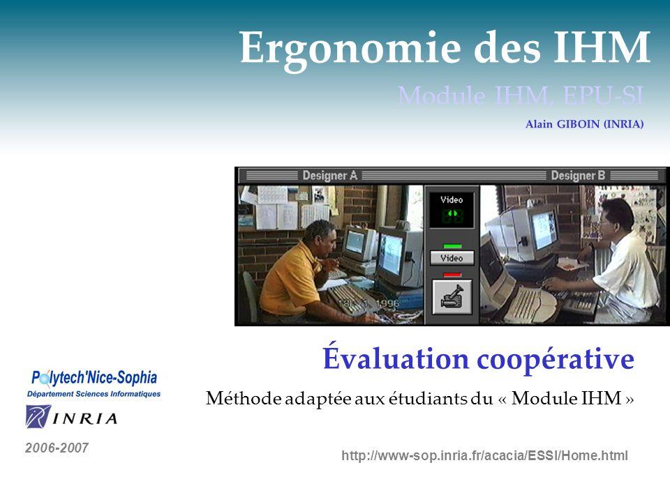 Ergonomie des IHM Évaluation coopérative Module IHM, EPU-SI