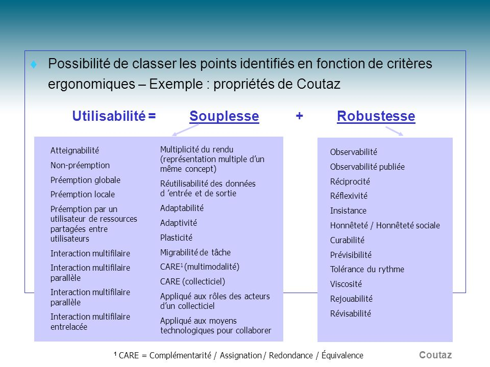 1 CARE = Complémentarité / Assignation / Redondance / Équivalence