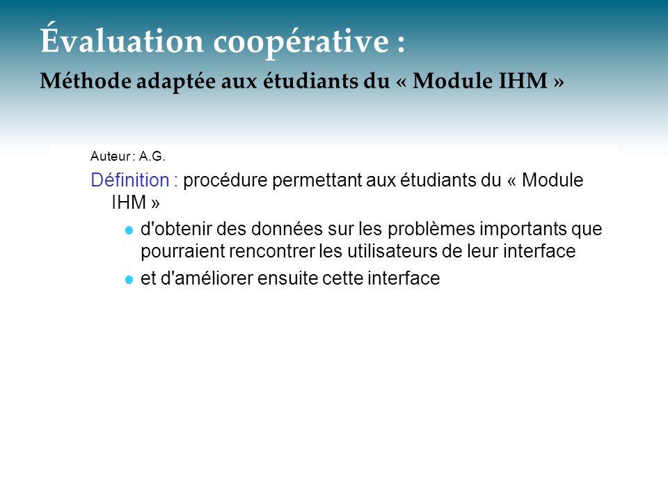 Évaluation coopérative : Méthode adaptée aux étudiants du « Module IHM »