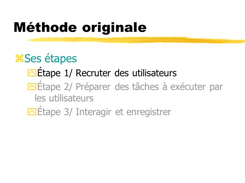 Méthode originale Ses étapes Étape 1/ Recruter des utilisateurs